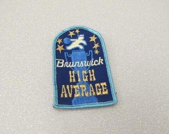 "1970s vintage bowling patch, ""Brunswick High Average,"" bowling trophy patch"