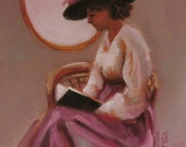 Literary Lady...Original Oil Painting by Maresa Lilley, SND