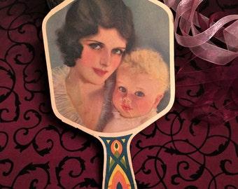 Lovely Antique Hand Fan, Church Fan, Brunette Flapper Pretty Lady, w Blonde Child Toddler Baby, Vintage Cardboard Fan, c 1920s