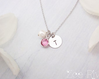 Personalized birthstone initial necklace in silver or gold