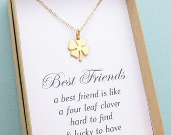 Best Friend Necklace, Best Friend Gift, Four Leaf Clover Necklace, Best Friend Jewelry,Friendship Gift, Bridesmaid Gift, Silver or Gold