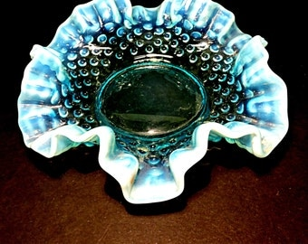 Blue Opalescent Ruffed Edge Hobnail Fenton Art Glass Bowl Flamboyant Bohemian Hippie Dramatic Scented Soap Bowl