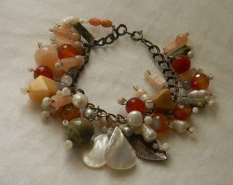 Vintage sterling silver bracelet , pearl & gemstone charms , beaded jewelry , double loop chain bracelet , vintage silver , chunky bracelet