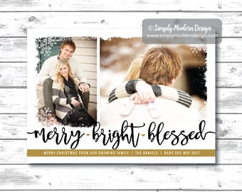 holiday card, christmas card, pregnancy announcement, new baby, christmas pregnancy announcement, blessed, PRINTABLE or PRINTED CARDS