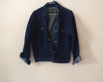 90's Dark Denim Jacket Coat Fitted Minimal Retro Vintage S