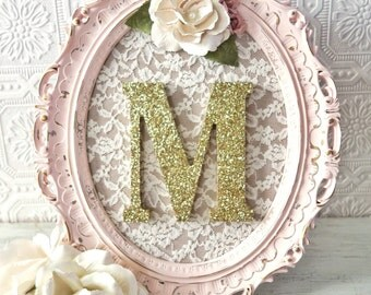 A-Z Nursery Letters Baby Girl Nursery Decor Pink and Gold Wall Letters Shabby Chic Nursery Decor