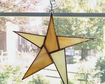 Stained Glass Star Suncatcher - Star Ornament - Yellow Glass Star - Christmas Decor - Appreciation Gift - Housewarming Gift - Hostess Gift