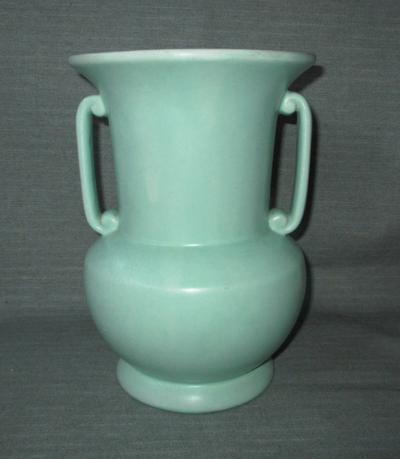 "1930s Haeger Pottery 9"" Vase #905, Satin Green, Scrolled Handles"