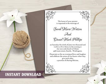 Wedding Invitation Template Download Printable Wedding Invitation Editable Invitation Black Invitation Elegant Floral Wedding Invitation DIY