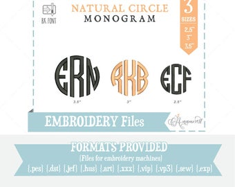 3 Sizes Natural Circle Monogram Files, Alphabet: Embroidery Design/ Files  for embroidery machines, 3 Letter Circle BX Font, BX files