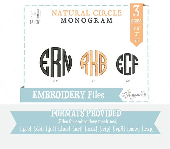 Sizes natural circle monogram files alphabet