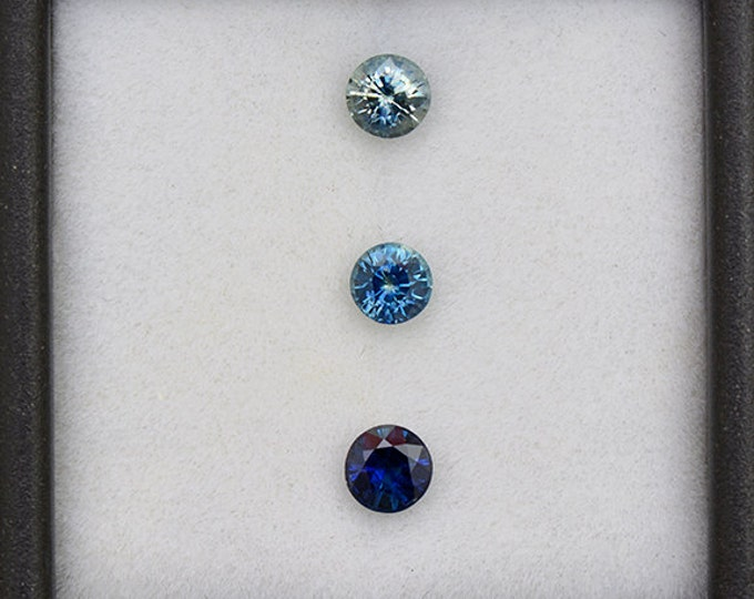 Excellent Blue Sapphire Gemstone Set from Montana 0.98 tcw.