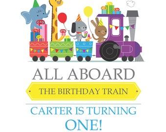 Party Zoo animals choo choo train Birthday Invitation - Digital file for DIY Printing - JPEG File