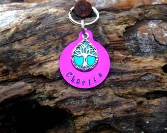 Custom Hand Stamped Tree of Life Dog ID Tag, Personalized Hand Stamped Colored Tree of Life Dog ID Tag, Nature Dog ID Tag, Cute Tree Dog Tag
