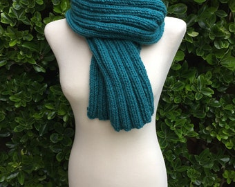 Hand Knitted Ribbed Scarf - Luxurious Long Ribbed Scarf in a fantastic Vibrant Green