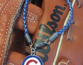 Chicago Cubs Braided Leather Bracelet