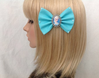 Queen Elsa Frozen hair bow clip rockabilly psychobilly disney kawaii pin up fabric blue Anna Olaf kristoff pearls pretty ladies girls women