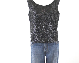 1960s Black Beaded Sequined Shell Wool Sweater Made in Hong Kong