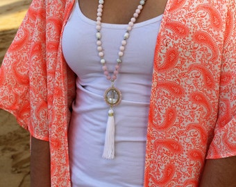 N6113 - Long Tassel Necklace - White and Pink Tassel Necklace - Long Necklace - Boho Jewelry - Claribella