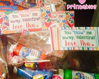 Fill in the Name Black - You Blow Me Away, Valentine! - Printable Bag Toppers - Printable Download PDF