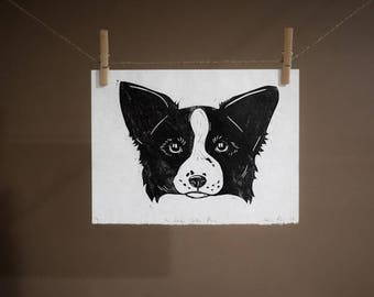 Border Collie Print | Linocut Relief Print | Gift for Border Collie Lovers