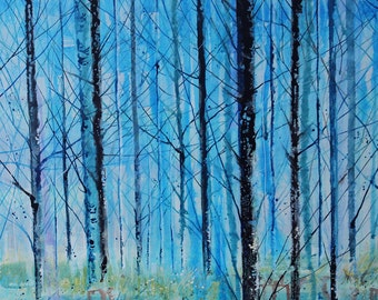 Original canvas art, tree painting on canvas, ink painting, Silver Birch trees, blue landscape art, woodland painting, painting of trees