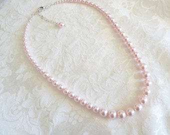 Swarovski Pearl Rosaline Graduated Necklace- Swarovski Rose Pearl Necklace- Swarovski Pink Bridesmaid Necklace- Pink Pearl Necklace-Item 531