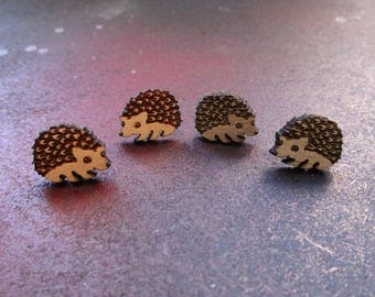 Cutie Hedgehog Wood Stud Earrings, Hoggie, Hedge Hog, Hypoallergenic Post