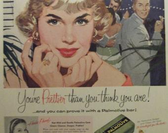 PALMOLIVE SOAP ADVERTISEMENT Original 1950s Vintage Magazine Ad Beauty Soap Bathroom Decor Swimsuit Model Bathroom Print Ready To Frame