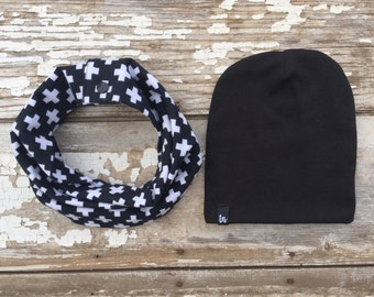 Cross Snap Drool Bib Scarf and Beanie Set Black Scarf and Hat Set Baby Scarf Bib Toddler Scarf Drool Bib Childrens Scarf and Hat Set Black