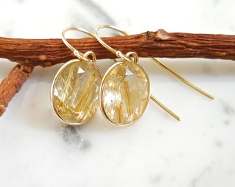 Rutilated Quartz Earrings, 14k Yellow Gold Bezel - Oval Quartz, Bridesmaids Jewelry, Faceted Rutilated Quartz, Quartz Pendant, Rutilated