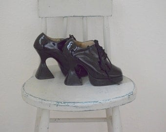 Black Patent Leather 'Morbid Threads' Goth / Club Shoes / Cosplay Shoes / Square Toe Platform Oxfords With Funky High Heels - Women's 7