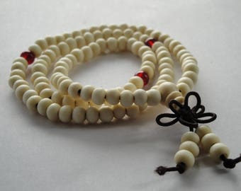 White and Red Elastic Beaded Bracelet, White Elastic Bracelet