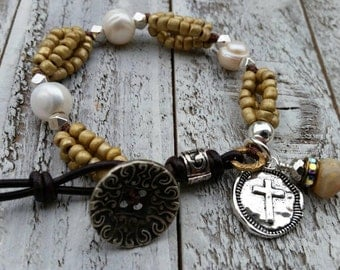 Freshwater Pearls Bohemian Cross Leather Bracelet