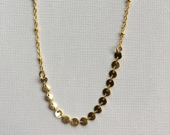 "Disc and Chain Necklace // Gold Necklace // Circle Chain // Gifts for Her // 16"" Necklace"