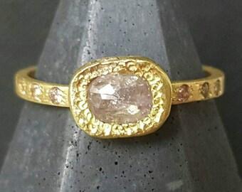 Rose cut diamond ring-18k yellow gold pink diamond ring-pink organic diamond ring-engagement ring-pink rose cut diamond ring