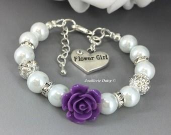 Dark Purple Flower Bracelet Flower Girl Jewelry Flower Girl Bracelet Gift for Flower Girl Purple Plum Eggplant Purple Bracelet Gift under 15