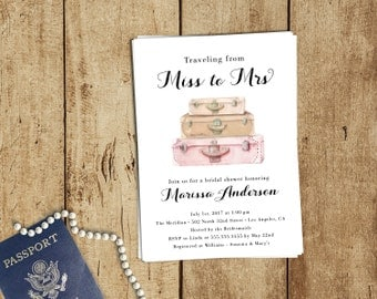 Traveling from Miss to Mrs Theme Bridal Shower Invitations - Luggage Wanderlust White, Blush Pink - FREE CUSTOM COLORS - Printed Invites