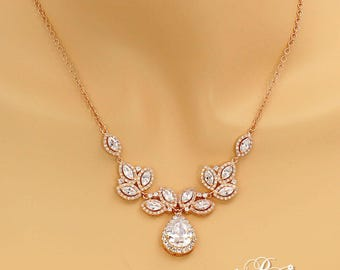 Wedding Necklace Rose gold plated Teardrop Cubic Zirconia Necklace CZ Necklace Wedding Bridal Jewelry Wedding Jewelry Wedding Accessory Tri