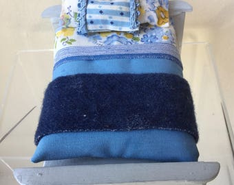 Dollhouse Miniature Bed with Blue Covering (JB)