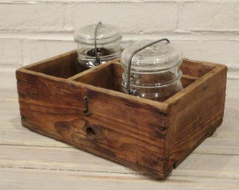 Antique Wood Box with 2 Jars / Atlas and Ball Ideal Jars / Primitive / Rustic Decor / Farmhouse