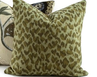 Green, Khaki & Olive Woven Cheetah Print Throw Pillow Cover, 18x18