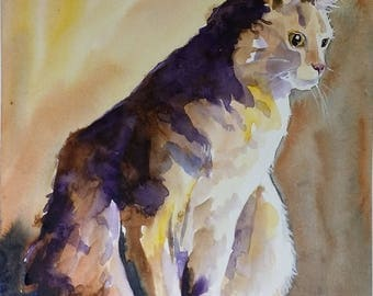 Cat in shadow, art, watercolor original painting on paper, Tabby Cat, matted and framed and behind glass