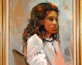 Rare Young Lady with White Blouse Portrait Painting Oil/Canvas w/Frame Signed