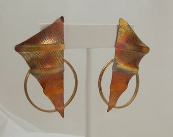 Huge Stunning Geometric Etched and Crimped Copper Earrings  2899