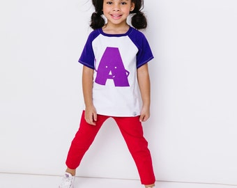 Classic Collection Purple Alphabet Raglan | CHOOSE Your Letter A-Z