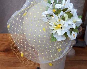 bird cage bridal veil polka dots spots yellow tiger lilly headpiece fascinator bridal bride boho summer wedding bridesmaid flowers hippie