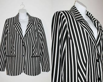 VINTAGE 80s Goth Glam Rock style Black and White Stripe pattern oversized Blazer Jacket