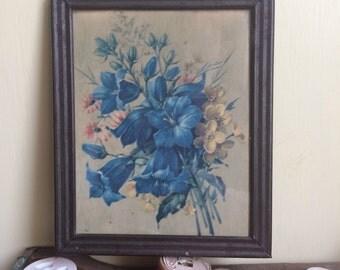 Vintage small framed blue flowers print // shabby chic metal frame floral under glass