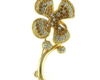 Jackie Kennedy GP Pin - 24K Four Leaf Clover with Stones, Box and COA